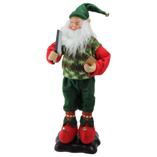 "24"" Green and Red Animated Festive Tinkering Tom the Wood Smith Christmas Elf - IMAGE 1"