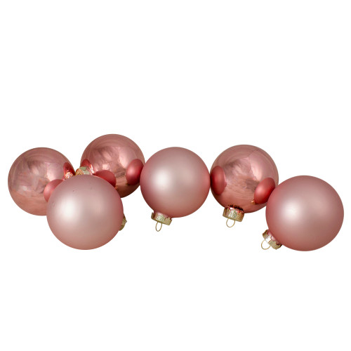 """6ct Shiny and Matte Baby Pink Glass Ball Christmas Ornaments 3.25"""" (80mm) - IMAGE 1"""