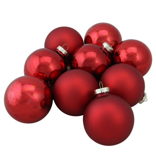 """9ct Red 2-Finish Christmas Ball Ornaments 2.5"""" (65mm) - IMAGE 1"""