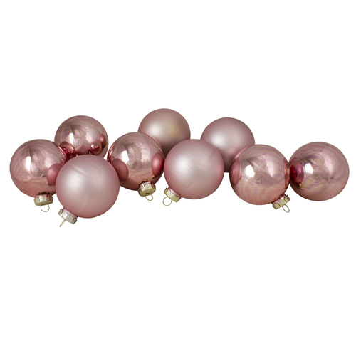 """9ct Shiny and Matte Pink and Gold Glass Ball Christmas Ornaments 2.5"""" (65mm) - IMAGE 1"""