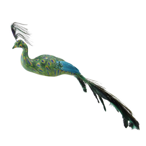 """3.5"""" Green and Teal Blue Peacock Clip On Christmas Ornament - IMAGE 1"""