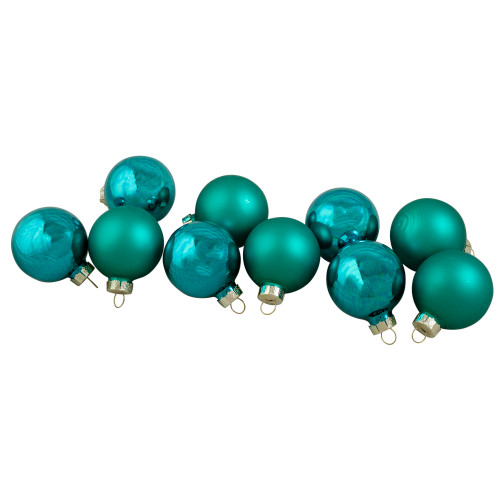 """10ct Turquoise Green 2-Finish Glass Christmas Ball Ornaments 1.75"""" (44.5mm) - IMAGE 1"""