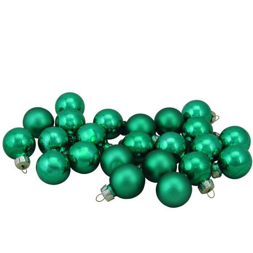 "24ct Green 2-Finish Glass Christmas Ball Ornaments 1"" (25mm) - IMAGE 1"