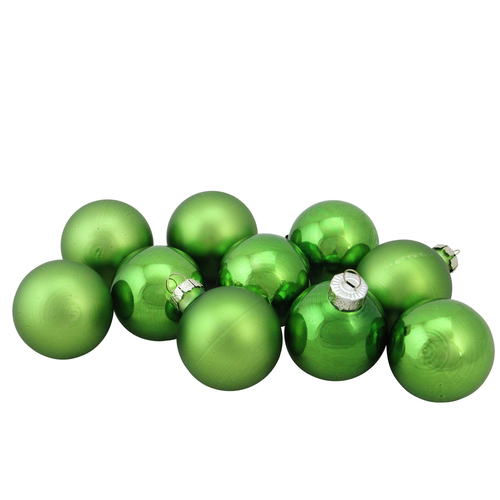 """10ct Grass Green 2-Finish Glass Christmas Ball Ornaments 1.75"""" (45mm) - IMAGE 1"""