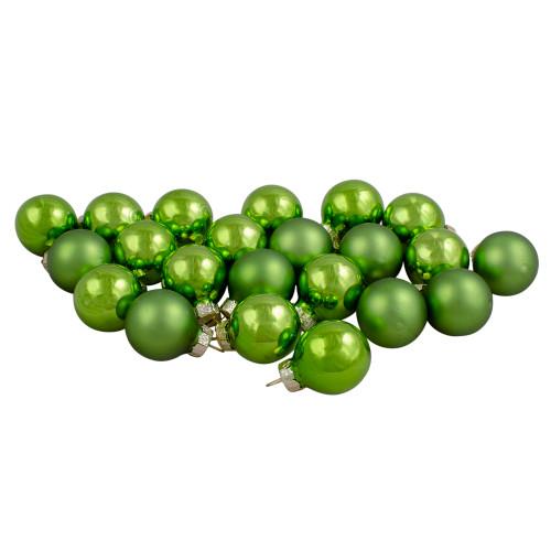 "24ct Kiwi Green 2-Finish Glass Ball Christmas Ornaments 1"" (25mm) - IMAGE 1"