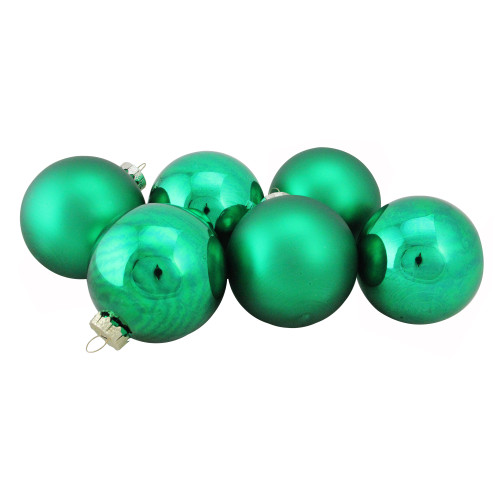 "6ct Shiny and Matte Green and Gold Glass Ball Christmas Ornaments 3.25"" (82mm) - IMAGE 1"