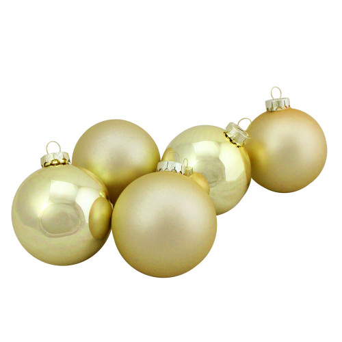 "6ct Champagne Gold 2-Finish Glass Ball Christmas Ornaments 3.25"" (80mm) - IMAGE 1"