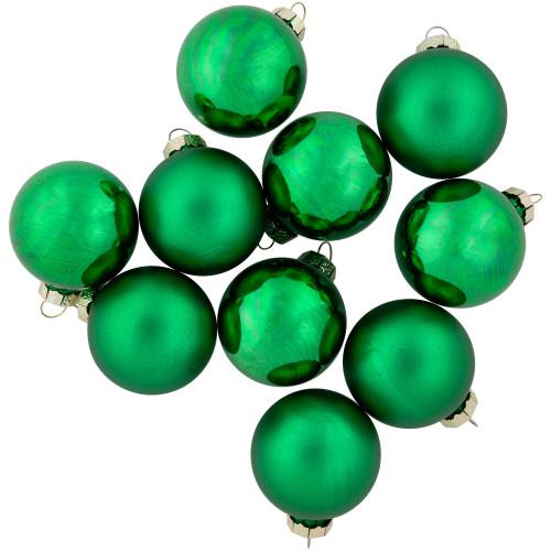 "10ct Green 2-Finish Glass Christmas Ball Ornaments 1.75"" (45mm) - IMAGE 1"