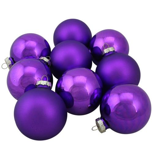 "9ct Purple 2-Finish Glass Ball Christmas Ornaments 2.5"" (63mm) - IMAGE 1"