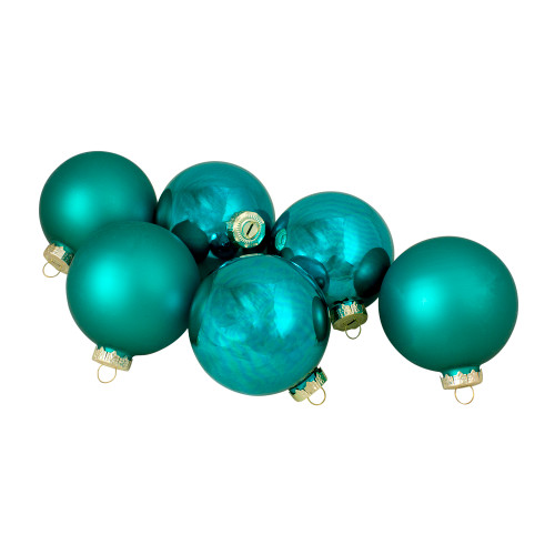 "6ct Shiny and Matte Turquoise Green Glass Ball Christmas Ornaments 3.25"" (80mm) - IMAGE 1"