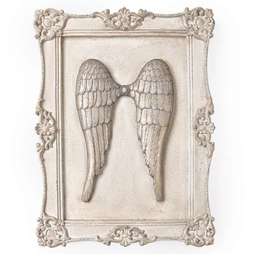"""Set of 2 Silver Religious Angel Wings Decorative Framed Wall Plaques 16"""" - IMAGE 1"""