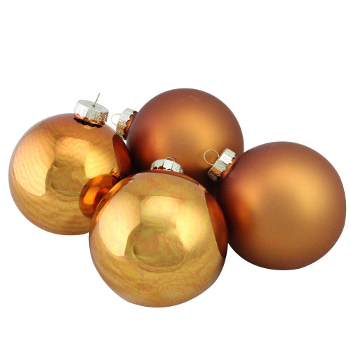 """4ct Bronze and Gold 2-Finish Glass Christmas Ball Ornaments 4"""" (100mm) - IMAGE 1"""