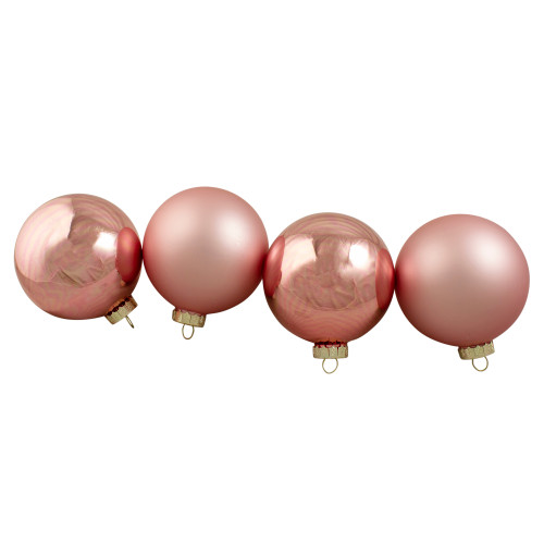 "4ct Pink 2-Finish Glass Christmas Ball Ornaments 4"" (100mm) - IMAGE 1"