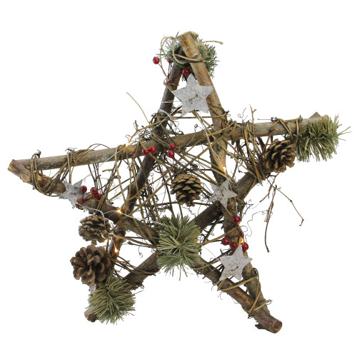 """15.75"""" Brown and Green Star with Rustic Twigs Christmas Ornament - IMAGE 1"""