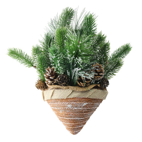 "12"" Green and Brown Ice Pine Cones with Branch Tips Hanging Christmas Decor - IMAGE 1"