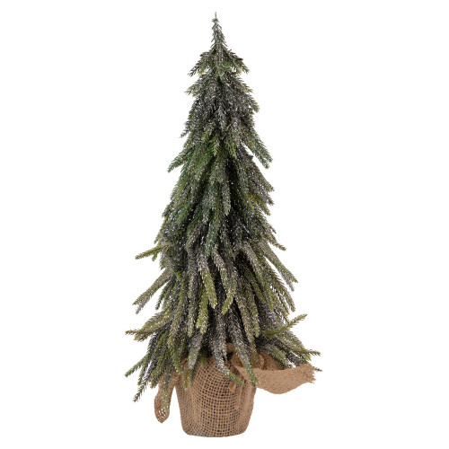 """19.5"""" Potted Silver Glitter Artificial Downswept Mini Pine Tabletop Christmas Tree - Unlit - IMAGE 1"""