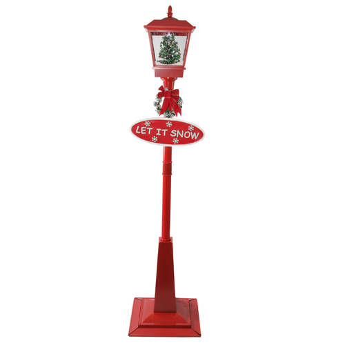 "70.75"" Musical Red Holiday Street Lamp with Christmas Tree Snowfall Lantern - IMAGE 1"