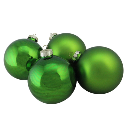 "4ct Shiny and Matte Green and Silver Glass Ball Christmas Ornaments 4"" (100mm) - IMAGE 1"
