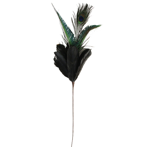 """22.75"""" Black and Green Plumage with Peacock Feather Christmas Pick - IMAGE 1"""