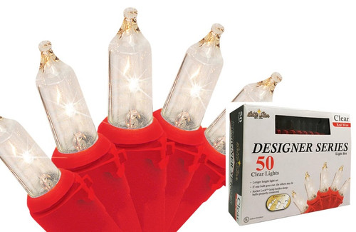 50-Count Clear Incandescent Mini Christmas Light Set, 17ft Red Wire - IMAGE 1