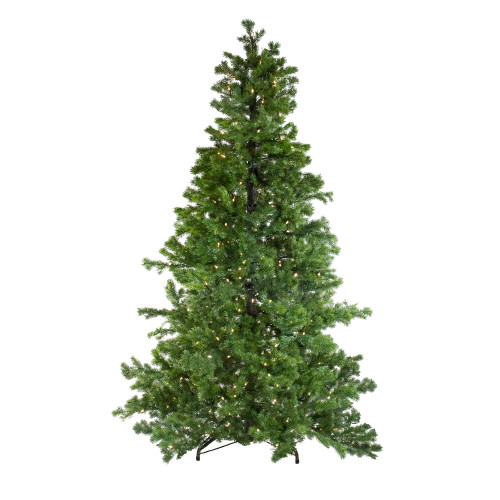 7.5' Pre-Lit Medium Layered Pine Instant Power Artificial Christmas Tree - Dual Color LED Lights - IMAGE 1