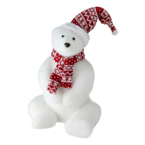 """17"""" Glitter Polar Bear in Nordic Hat and Scarf Christmas Decor - IMAGE 1"""
