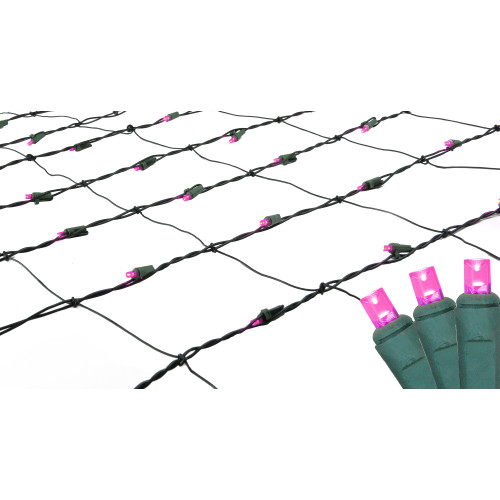 4' x 6' Raspberry Pink LED Wide Angle Net Style Christmas Lights - Green Wire - IMAGE 1