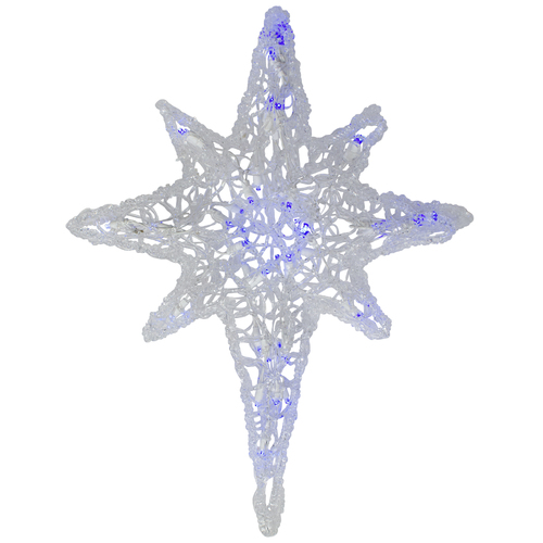 """24"""" Clear and Blue LED Lighted Color Changing Hanging Star of Bethlehem Christmas Decoration - IMAGE 1"""