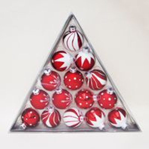 """180 Peppermint Twist Red and White Glass Ball Christmas Ornaments 1.5"""" (40mm) - IMAGE 1"""