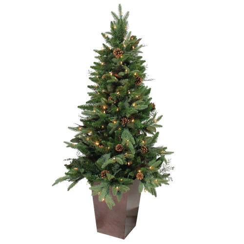 5' Pre-lit Green Potted Mixed Winter Pine Medium Artificial Christmas Tree - Clear Lights - IMAGE 1