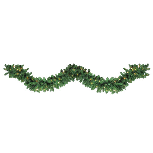 """27' x 14"""" Pre-Lit Olympia Pine Artificial Christmas Garland - Warm White Lights - IMAGE 1"""