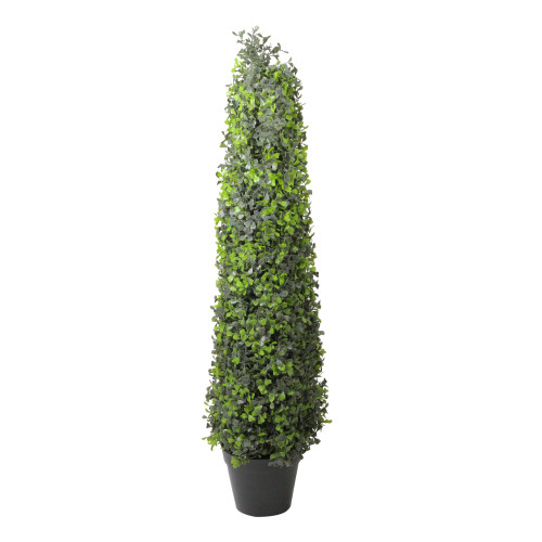 """36"""" Green and Black Potted Two-Toned Boxwood Artificial Topiary Tree - IMAGE 1"""