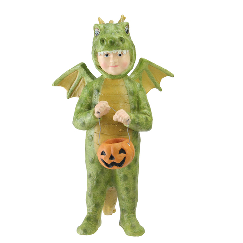 "7"" Green and Orange Dragon Costumed Child with Pumpkin Candy Bucket Halloween Tabletop Decor - IMAGE 1"