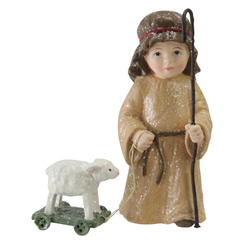 """4.25"""" White and Brown Boy Shepherd with Lamb Christmas Nativity Decor - IMAGE 1"""