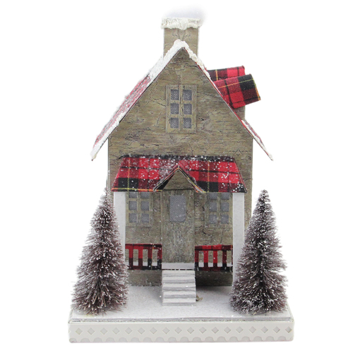 """10"""" Brown and Red Battery Operated LED Tartan House Christmas Decor - IMAGE 1"""