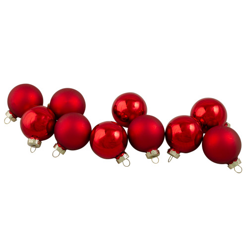 """10ct Red 2-Finish Glass Christmas Ball Ornaments 1.75"""" (45mm) - IMAGE 1"""