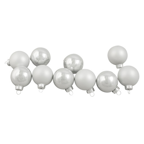 "10ct White Shiny and Matte Glass Ball Christmas Ornaments 1.75"" (45mm) - IMAGE 1"