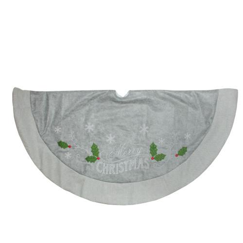 "48"" Gray and Green 'Merry CHRISTMAS' Mottled Tree Skirt with Herringbone Bordered Trim - IMAGE 1"