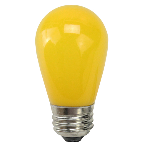 Pack of 25 Opaque Yellow LED S14 Christmas Replacement Light Bulbs - 1.3 Watts - IMAGE 1