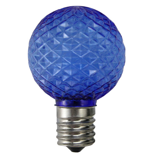 Pack of 25 LED Blue Faceted G40 Globe Christmas Replacement Light Bulbs - IMAGE 1