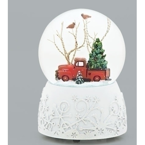 """Set of 2 Musical 1948 Ford F-1 Christmas Glitter Dome 6"""" - IMAGE 1"""
