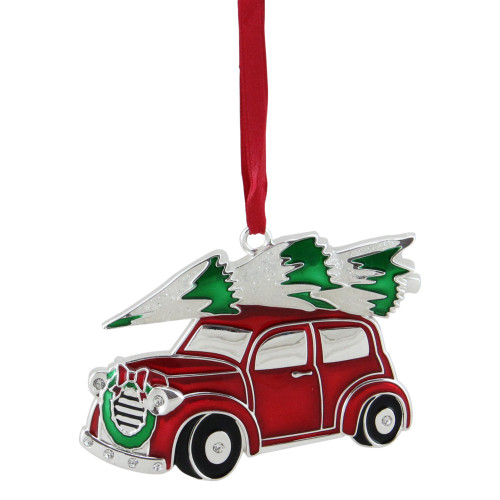 """3.25"""" Red and White Car with Tree Christmas Ornament - IMAGE 1"""