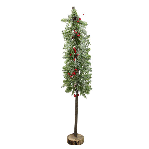 """34"""" Green and Red Glittered Artificial Alpine Christmas Tree Tabletop Decor - IMAGE 1"""