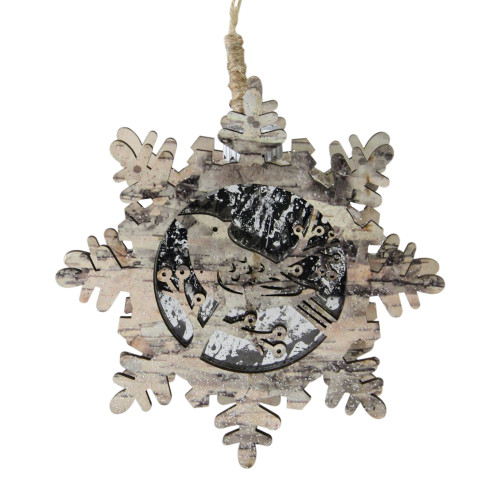 "6"" Brown and Gray Pre-Lit Snowflake with Bird Christmas Ornament - IMAGE 1"