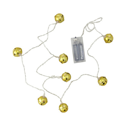 8 Battery Operated Gold LED Jingle Bell Christmas Lights - Clear Wire - IMAGE 1