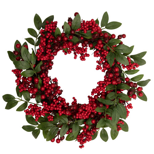 Lush Berry and Leaf Artificial Christmas Wreath - 18-Inch, Unlit - IMAGE 1