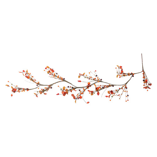 """5' x 6"""" Autumn Harvest Berries and Leaves Rustic Twig Artificial Thanksgiving Garland - Unlit - IMAGE 1"""