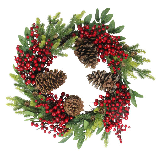 Pine Cone and Berry Artificial Christmas Wreath - 22-Inch, Unlit - IMAGE 1