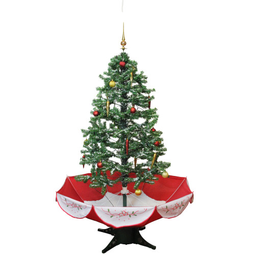 4.5' Pre-Lit Medium Musical Snowing Artificial Christmas Tree with Umbrella Base - Blue LED Lights - IMAGE 1