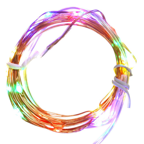 Set of 20 Multi-Color Battery Operated LED Christmas Fairy Lights - Copper Wire - IMAGE 1
